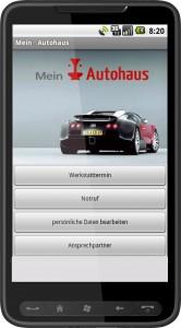 Ansicht der Autohaus Service-App